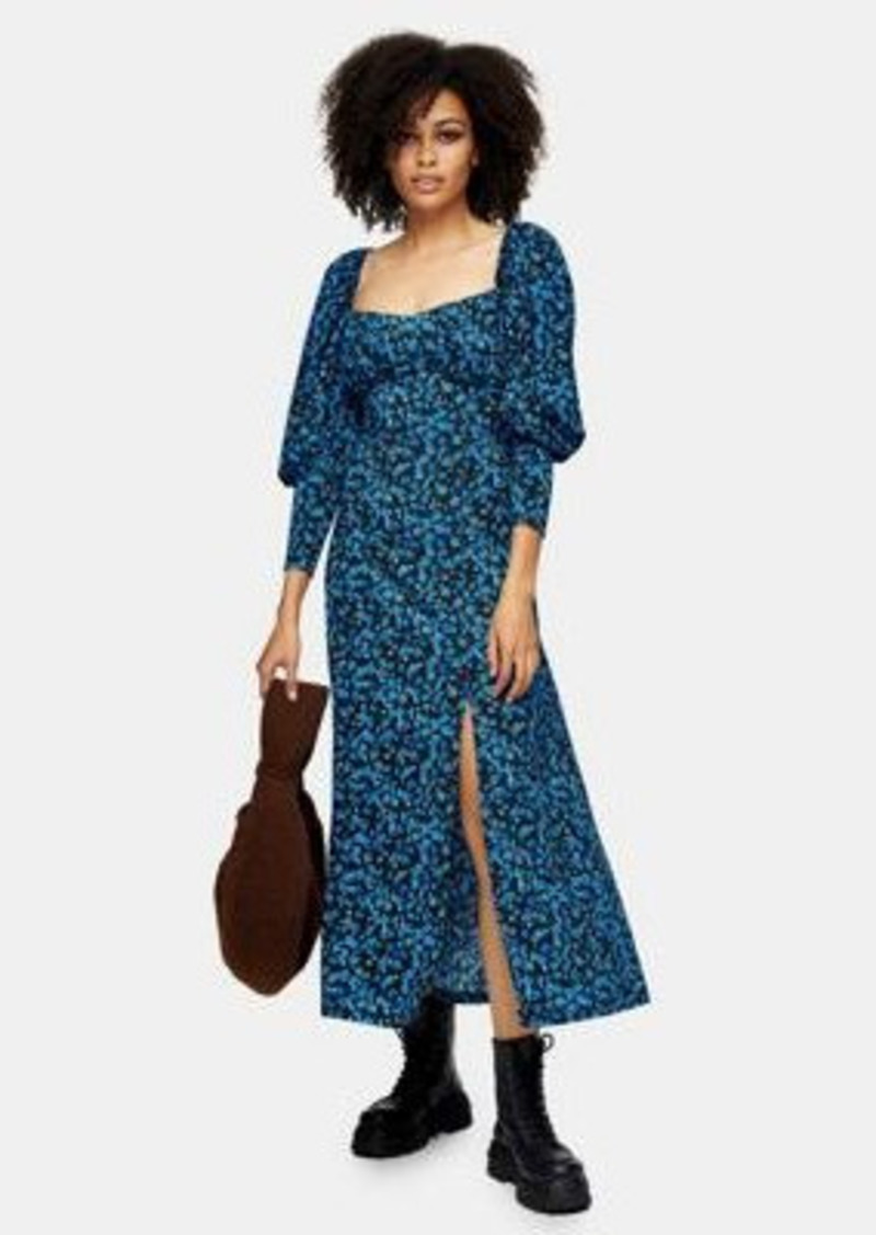 Topshop milkmaid midi dress in blue