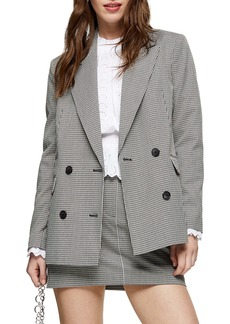 Topshop Mini Dogtooth Double Breasted Blazer