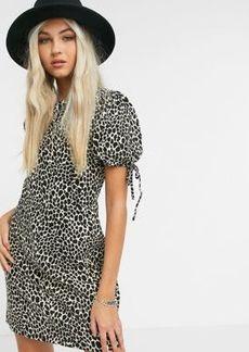 Topshop mini tea dress in animal print