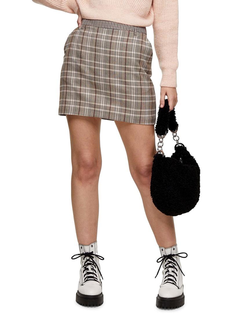 Topshop Mix Check Jojo Miniskirt