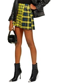 Topshop Mix Check Kilt Miniskirt (Petite)