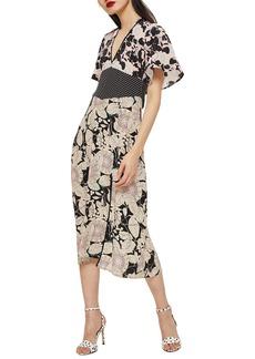 Topshop Mix Floral Midi Dress