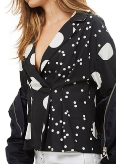 Topshop Mix Match Polka Dot Blouse