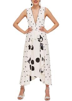 Topshop Mix Spotted Pinafore Midi Dress