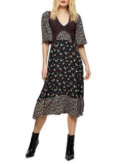 Topshop Mixed Print Midi Dress