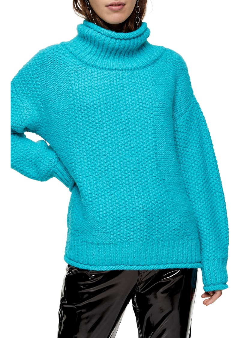 Topshop Mixed Stitch Roll Neck Sweater