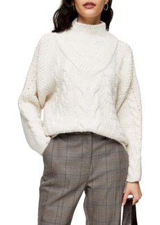 Topshop Mock Neck Cable Sweater