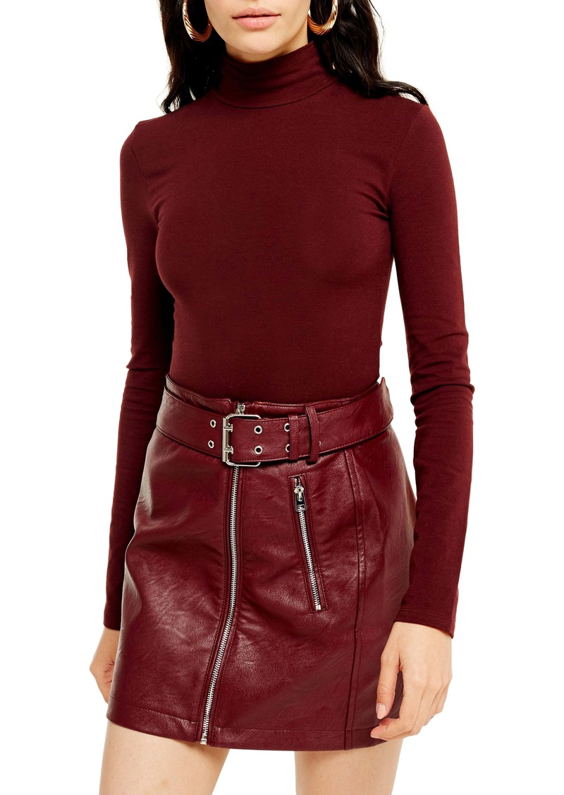 Topshop Mock Neck Mesh Top