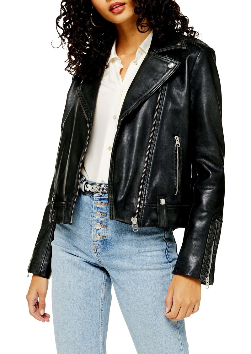 Topshop Mona Leather Biker Jacket (Regular & Petite)