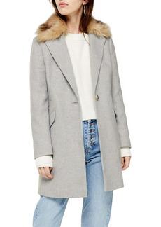 Topshop Monica Faux Fur Collar Coat (Regular & Petite)