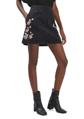 Topshop Moto Embroidered Denim Skirt