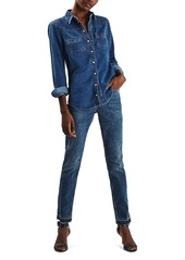 Topshop Moto Fitted Denim Shirt