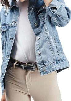 Topshop Moto Ripped Oversize Denim Jacket (Regular & Petite)