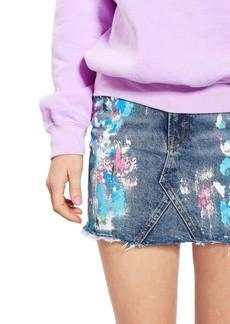 Topshop Moto Splatter Paint Denim Miniskirt