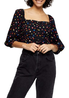 Topshop Multispot Ruched Top