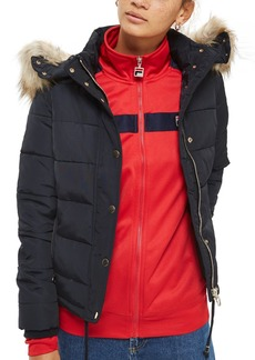 Topshop Nancy Quilted Puffer Jacket with Faux Fur Trim
