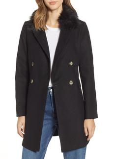 Topshop Naomi Faux Fur Collar Coat