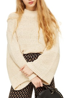 Topshop Natural Yarn Bell Sleeve Sweater