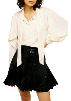 Topshop Neck Tie Twill Blouse