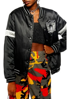 Topshop NFL Raiders Satin Bomber Jacket
