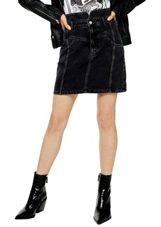 Topshop Notch Waist Denim Miniskirt