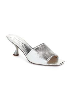 Topshop Nutmeg Flare Kitten Heel Metallic Slide Sandal (Women)