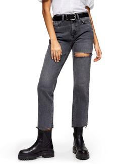 Topshop NY Thigh Rip Raw Hem Straight Leg Jeans (Smoke Grey)