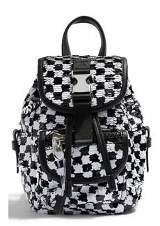 Topshop NYC Sequin Check Backpack
