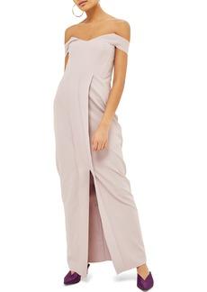 Topshop Off the Shoulder Crepe Dress