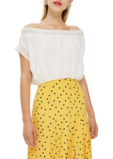 Topshop Off the Shoulder Eyelet Detail Top