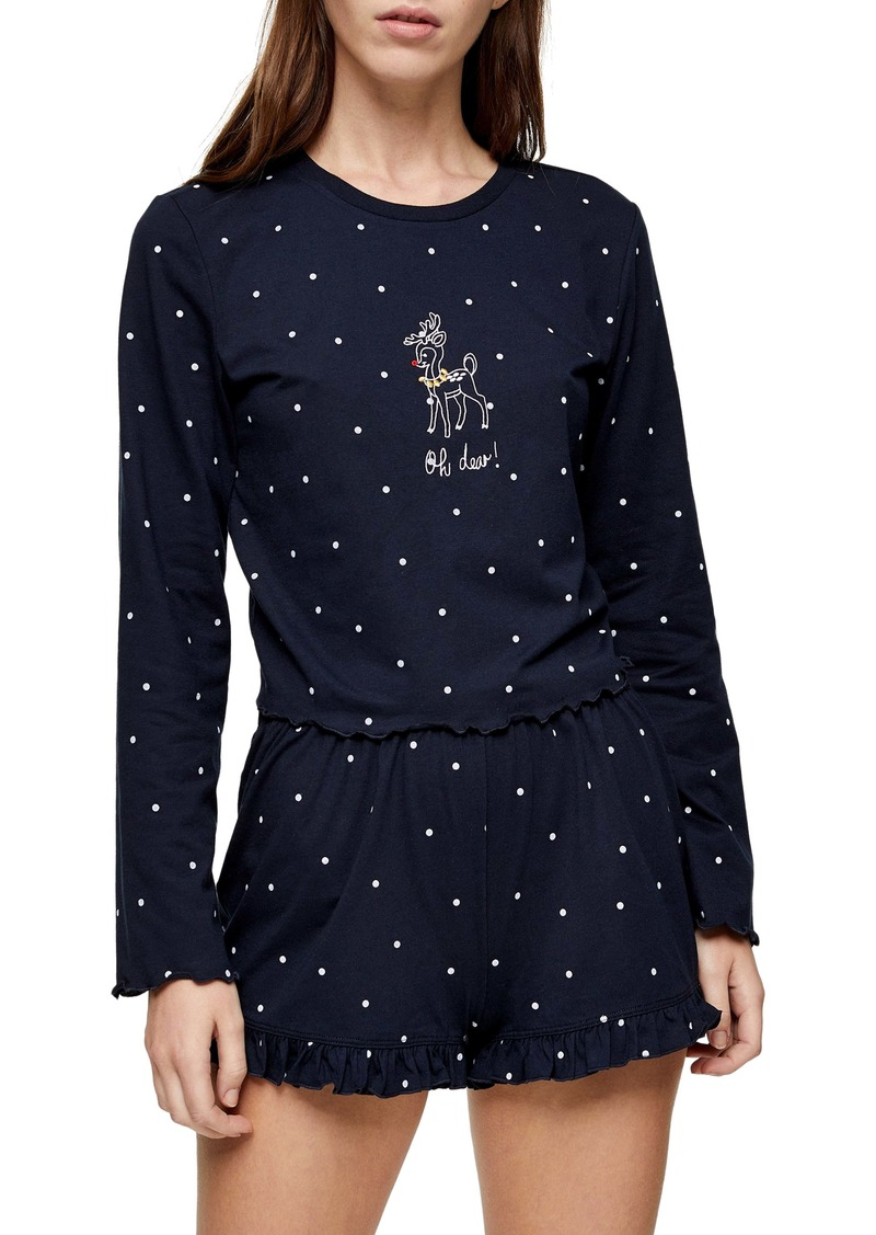Topshop Oh Deer Polka Dot Short Pajamas
