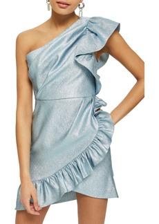 Topshop One-Shoulder Ruffle Minidress
