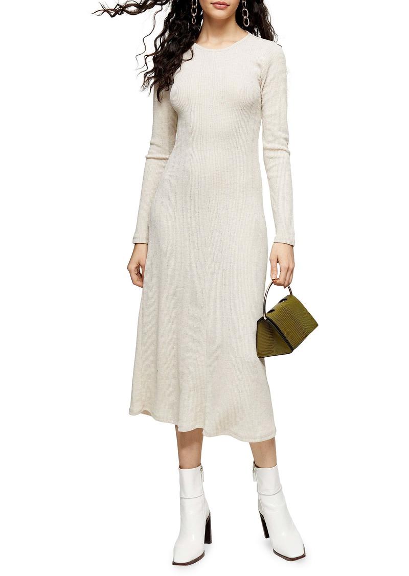Topshop Open Back Long Sleeve Midi Dress