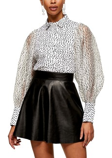 Topshop Organza Flocked Polka Dot Shirt