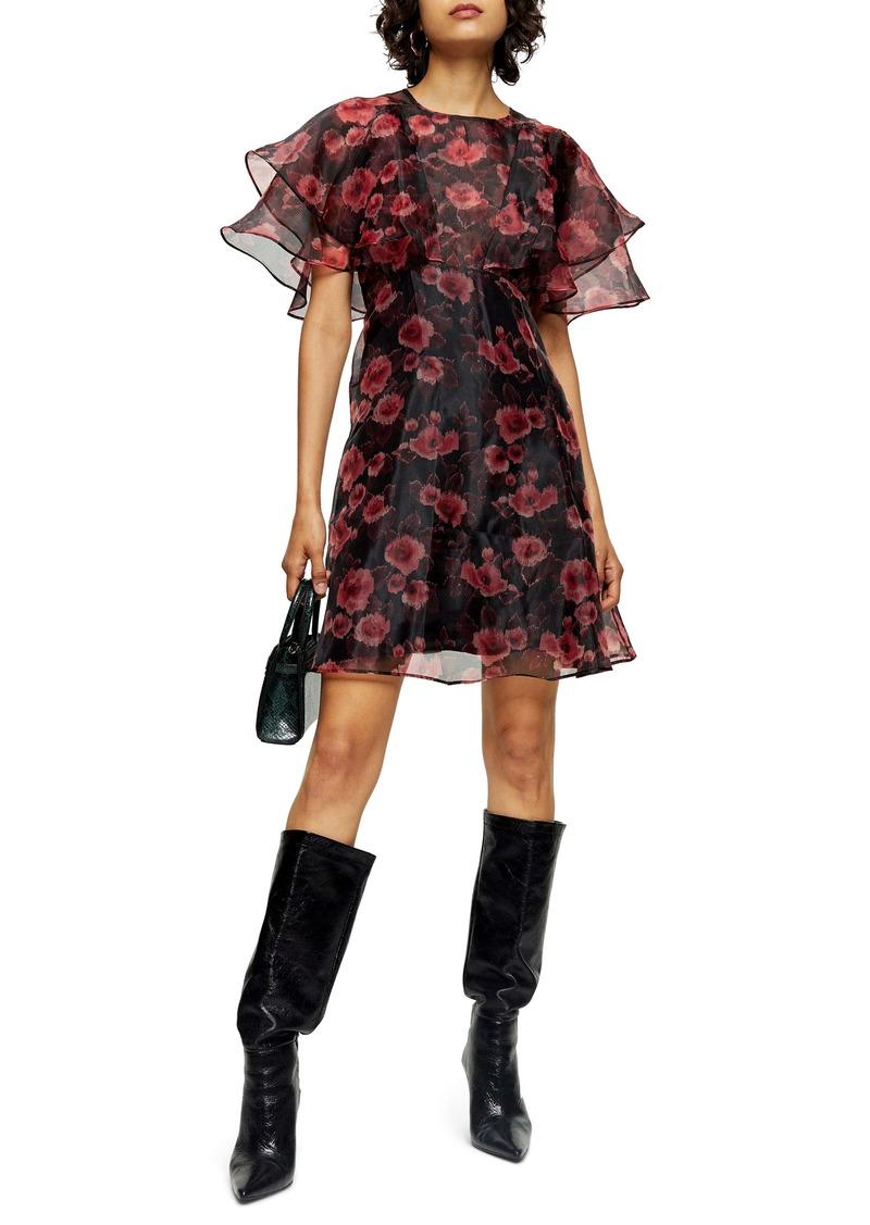 Topshop Organza Floral Print Minidress