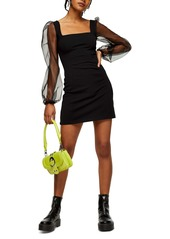 Topshop Organza Sleeve Minidress