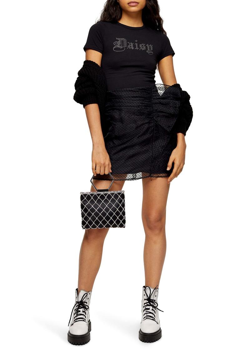 Topshop Organza Spot Miniskirt