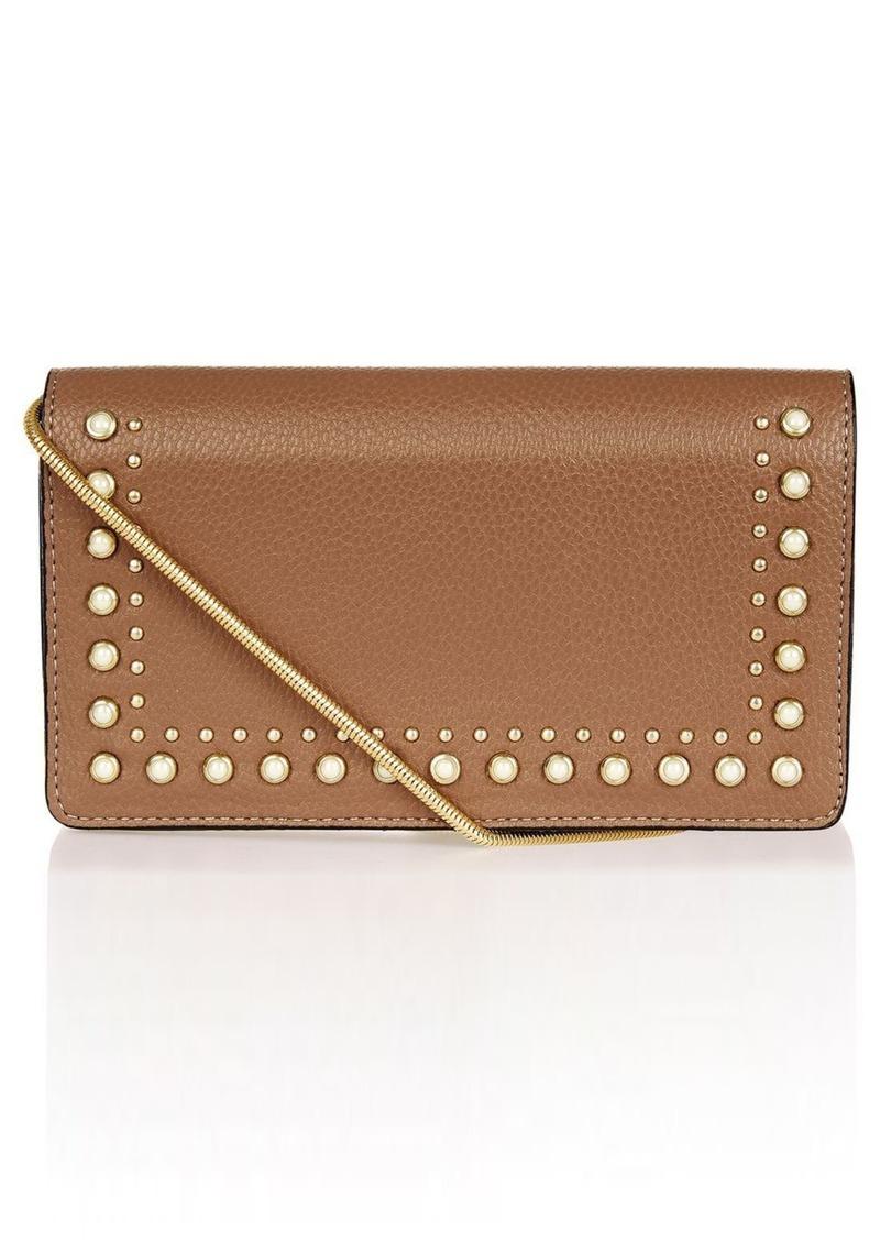 Topshop Orla Stud Faux Leather Crossbody Handbags Clutch Black
