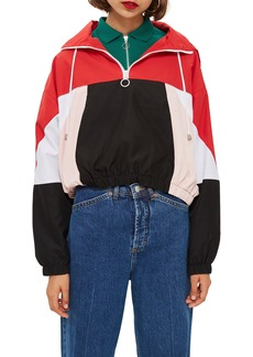 Topshop Overhead Colorblock Windbreaker Jacket