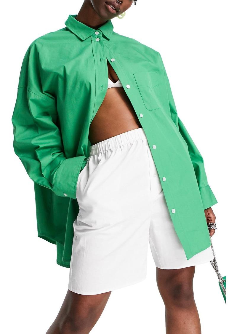 Topshop Oversize Cotton Poplin Button-Up Shirt