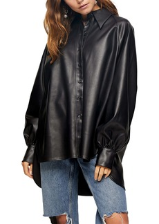 Topshop Oversize Faux Leather Button-Up Shirt