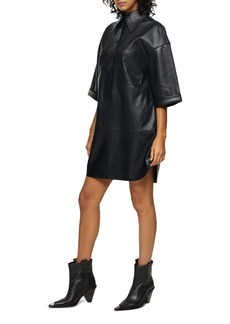 Topshop Oversize Faux Leather Shirtdress