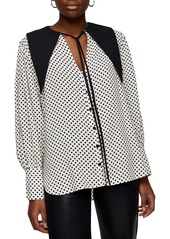 Topshop Oversize Pointed Collar Dot Blouse