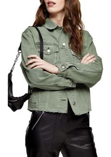 Topshop Oversize Raw Hem Denim Jacket