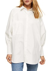 Topshop Oversize Smocked Bishop Sleeve Button-Up Shirt