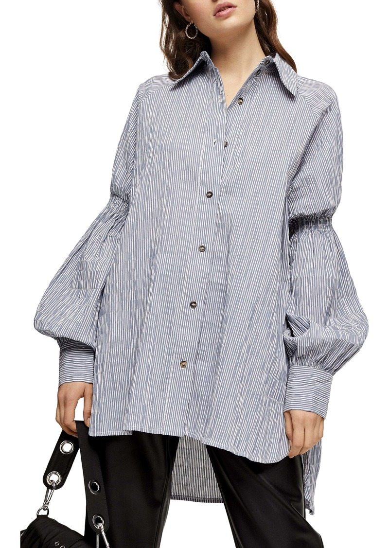 Topshop Oversize Stripe Texture Button-Up Shirt