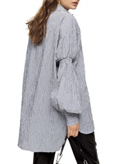Topshop Oversize Stripe Texture Button-Up Shirt