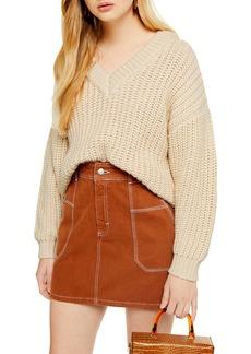 Topshop Oversize V-Neck Sweater