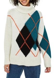 Topshop Oversized Argyle Turtleneck Sweater