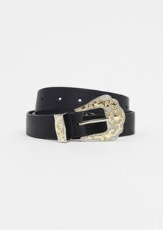 Topshop oversized western belt with silver buckle in black